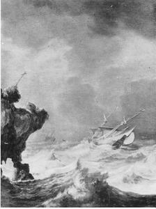 Schepen in een storm bij een rots