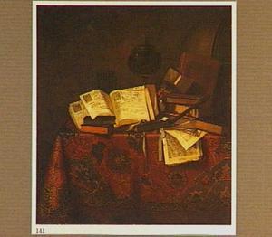 Stilleven met bladmuziek, boeken, een fluit en een globe op een tafel