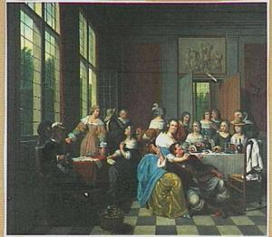 Etend, drinkend en musicerend gezelschap in een interieur
