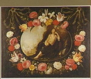 Bloemguirlande rond een voorstelling van de Heilige Magdalena