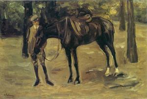 Rijknecht met paard van de dochter van de schilder