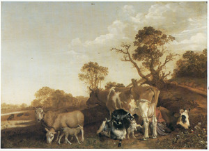 Landschap met vee en een melkmeid