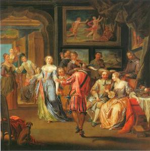 Interieur met gezelschap in historische kleding