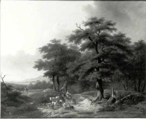 Herder en herderin met vee op een landweg