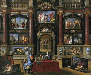 Familie in een interieur met een schilderijenverzameling