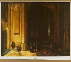 Gotisch kerkinterieur met een processie bij kunstlicht