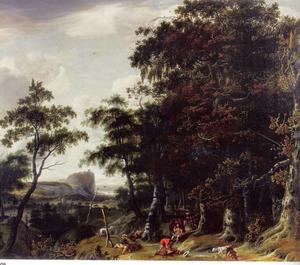Boslandschap met jagers en reizigers op de voorgrond