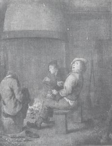 Rokende en drinkende figuren bij een haardvuur