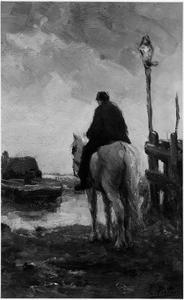 Man op een wit paard