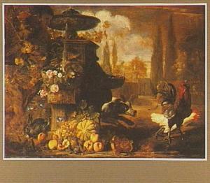 Tuin van een palazzo met een fontein, in de voorgrond een stilleven van verschillende vruchten en rechts een hond die achter kippen aanjaagt
