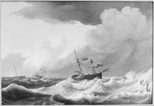 Schepen in een storm bij een havenhoofd