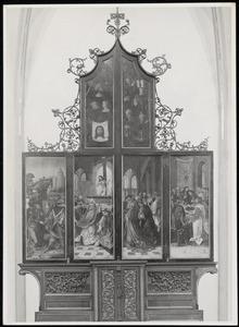 Abraham geeft Melchizedek een tiende van de buit, de Gregoriusmis (buitenzijde linkerluik); De Gregoriusmis, het Laatste Avondmaal (buitenzijde rechterluik)