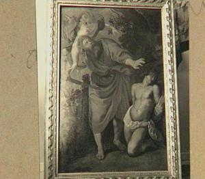 Offer van Abraham: Een engel weerhoudt Abraham om Isaak te offeren (Genesis 22:10-12)