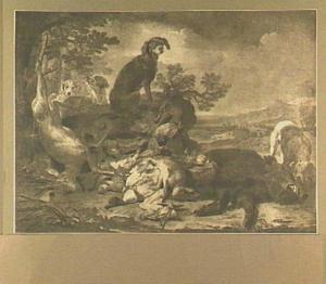 Vier honden in een landschap bij een buit van hert, everzwijn, haas en gevogelte