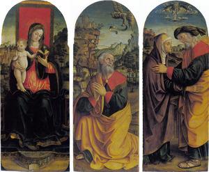 Maria met kind; de verkondiging aan Joachim; de ontmoeting van Joachim en Anna bij de Gouden Poort