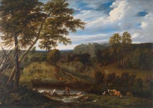 Rivierlandschap met herders en boeren onderweg