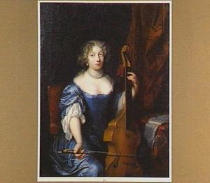 Portret van een vrouw, viola da gamba spelend