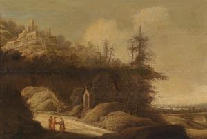Berglandschap met een vesting op een heuvel