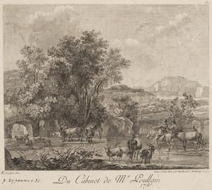 Zuidelijk landschap met herders en vee bij een rivier