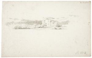 Duinlandschap met de ruïne van kasteel Brederode vanuit het oosten
