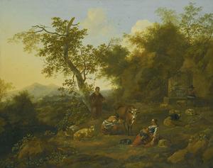 Zuidelijk landschap met herderinnen en vee