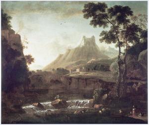 Zuidelijk landschap met waterval, in de verte hoge bergen