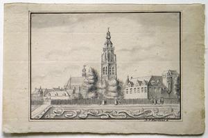 Gezicht in Breda met de Grote of Onze-Lieve-Vrouwekerk