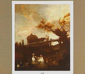 Eenden in een vijver met op de achtergrond een hooiwagen op een brug