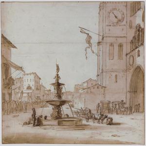Piazza del Duomo in Messina met de fontein van Orion en de kathedraal