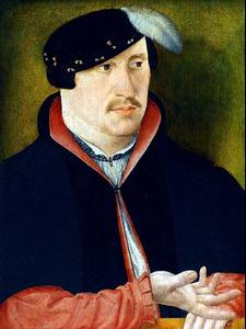 Portret van een man, mogelijk uit de familie (Van Borssele) Van Baersdorp (op de achterzijde afbeelding van een hond)