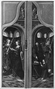 De HH. Catharina en Ursula (links), de HH. Jozef en Willibrord (of Nicolaas?; rechts)