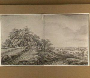 Heuvellandschap met rechts op de achtergrond het kasteel Doorwerth