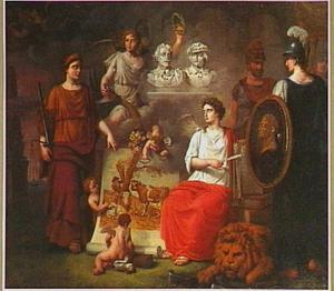 Allegorie op de vereniging van de Vlaamse en Hollandse schilderkunst en de terugkeer van kunstwerken uit Frankrijk onder het regime van Koning Willem I