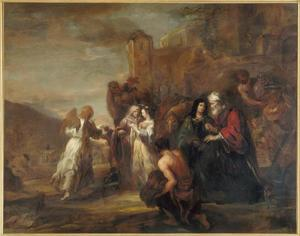 Het vertrek van Tobias en Sara bij Raguel en zijn vrouw