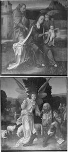 De Heilige Familie (voorzijde); De annunciatie aan Joachim (achterzijde)