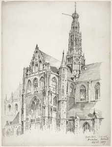 De Grote of Sint-Bavokerk te Haarlem vanuit het noordwesten