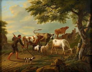 Veedrijver met vee in een heuvelachtig landschap