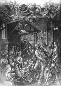 De aanbidding van de herders, met in de achtergond de aankonding aan de herders ne de drie koningen
