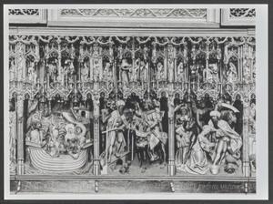 De spirituele en natuurlijke geboorte van de H. Dympna, de moeder van Dympna vertrouwt haar dochter toe aan de H. Gerebernus in plaats van haar vader, de koning (binnenzijde linkerluik); Dympna weigert met haar vader te trouwen en bindt zich spiritueel aan Gerebernus, de ontsnapping van Gerebernus en Dympna over zee en land, de betaling met de Ierse munt en de identificatie van de munt, de koning vindt Dympna die zal worden gemarteld, de ontwikkeling van een aardse weigering door mensen en door engelen (middendeel); De begrafenis van de heilige Dympna en de processie ter ere van haar (binnenzijde rechterluik)