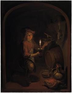 Jongen met een brandende kaars en een muizenval in een keldergewelf