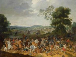 Ruitergevecht in heuvelachtig landschap