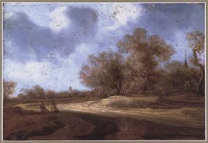 Landschap  met huifkar