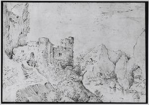 Rotslandschap met kasteel en rivier