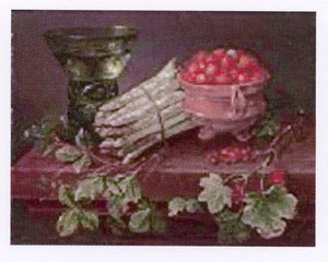 Stilleven met asperges, pot met aardbeien en berkemeier