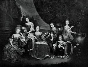 Groepsportret van de zes kinderen van Johann Georg II van Anhalt Dessau en Henriette Catharina van Oranje-Nassau