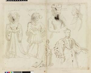 Studie van Marguerite de Lorraine, Jan van Bourgondië, hertog van Nevers en vier andere figuren