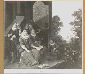 Musicerend gezelschap in zeventiende-eeuws kostuum in een tuin