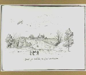 Gezicht op Villebon gezien vanaf Meudon, met vliegende putto