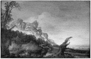 Bergachtig landschap met links een houthakker met takkenbos op de rug