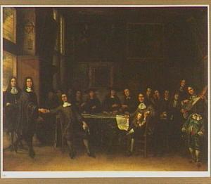 Portret van een gezelschap heren met rechts een zelfportret van de kunstenaar